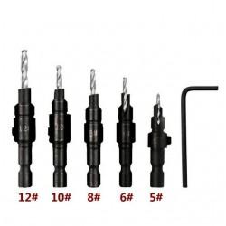 Zestaw 5 wierteł do konfirmatów 5, 6, 8, 10, 12mm wiertło