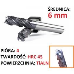 Frez węglik VHM 4p 6mm chwyt 6mm TiAlN 45HRC CNC