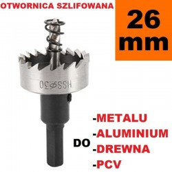 Otwornica Szlifowana HSS 26.1mm do metalu, drewpa, PCV