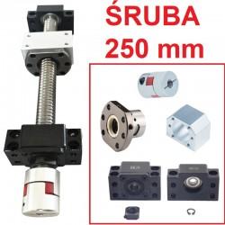 Śruba kulowa 1605 250mm + nakrętka + BK12/BF12 CNC + sprzęgło