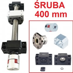 Śruba kulowa 1605 400mm + nakrętka + BK12/BF12 CNC + sprzęgło