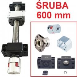 Śruba kulowa 1605 600mm + nakrętka + BK12/BF12 CNC + sprzęgło