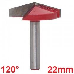 Frez VHM 3D 22mm 120 stopni chwyt 6mm carving