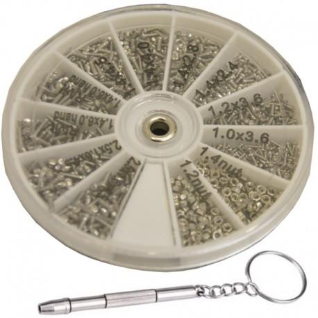 1000-częściowy zestaw śrubek do zegarków i okularów + śrubokręt