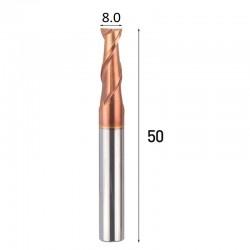 Frez węglik VHM 2p 8 mm chwyt 8mm TiAlN 55HRC CNC