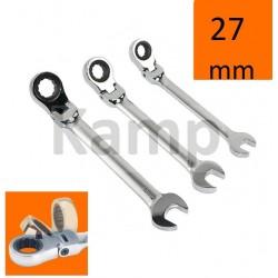 Klucz płasko-oczkowy z grzechotką i przegubem, łamany 27mm