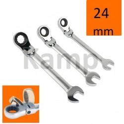 Klucz płasko-oczkowy z grzechotką i przegubem, łamany 24mm